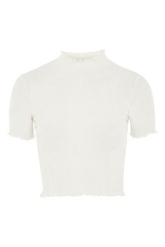 Textured Ruffle Neck Crop Top - Tops - Clothing - Topshop