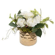 """Check out this item at One Kings Lane! 16"""" Rose Arrangement in Planter, Faux"""