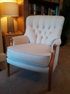Vintage Parker Knoll button back chair in natural linen fabric