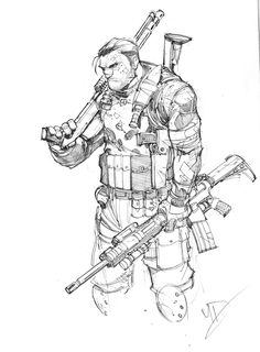 A warmup sketch I did of the Punisher, tons of fun drawing all his gear, guns and knick knacks. The Punisher Comic Book Characters, Marvel Characters, Comic Character, Comic Books Art, Character Concept, Punisher Characters, Punisher Marvel, Heros Comics, Military Drawings