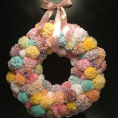 Pom pom wreath, easter wreath, modern easter wreath, spring wreath, nursery wreath, pastel wreath, baby girl wreath, modern spring wreath by ThePinkGardenias on Etsy https://www.etsy.com/listing/265185931/pom-pom-wreath-easter-wreath-modern