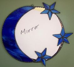 Stained Glass Moon and Stars Mirror by OriAnnaGlassArt on Etsy Stained Glass Mirror, Mirror Mosaic, Stained Glass Designs, Stained Glass Projects, Stained Glass Patterns, Leaded Glass, Mosaic Glass, Glass Mirrors, My Glass