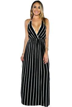 Black Stripes Maxi Dress MAVERLLY
