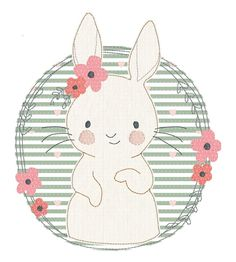 Stickdatei Lulu Blumenkranz Lulu as a beautiful doodle embroidery file with applied fabric parts. Animal Drawings, Cute Drawings, Embroidery Files, Embroidery Designs, Lapin Art, Baby Animals, Cute Animals, Bunny Art, Diy Décoration