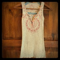 Free People tank Super soft grey tank with burgundy design. Perfect condition. Free People Tops Tank Tops