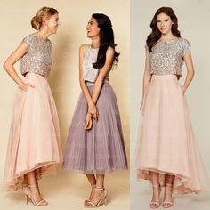 2 piece bridesmaid dresses, sequin bridesmaid dresses, organza bridesmaid dresses, blush pink bridesmaid dresses,strapless bridesmaid dresses, 16313