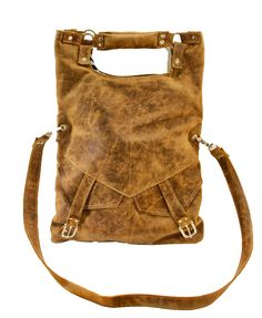 Large Slouch Leather Messenger Bag - Hipster Fold-over Hobo Bag Distressed Brown Leather Purse