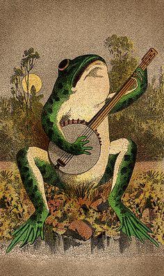 Frog playing a banjo art Psychedelic Art, Photo Wall Collage, Collage Art, Art Bizarre, Art Hippie, Frog Art, Art Et Illustration, Botanical Illustration, Poster Prints