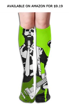 ade6543857f Women s Ladies Girls Cotton Spandex Knee High Socks With Green Day