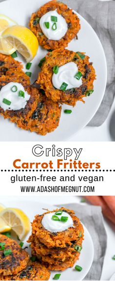 Gluten-free carrot fritters are a light and colorful appetizer or vegetable side for your table this Spring. Requiring less than 10 ingredients and ready in under 15 minutes, they make a great week-night recipe. Serve with your choice of protein for dinner or as an appetizer or side when topped with greek yogurt and a squeeze of tart lemon juice. With dairy-free and vegan options, the whole family can enjoy this gluten-free recipe. #easter #spring #appetizer #snack #side via @adashofmegnut