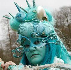 Custom made WATER ELEMENTAL Costume Headpiece * Mermaid / Sea Goddess Crown * Real Sea Shells * Cosplay