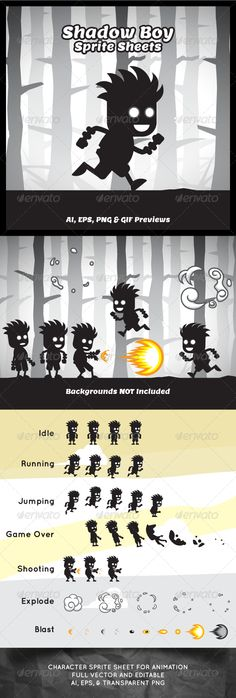 Shadow Boy Game Character Sprite Sheets  #graphicriver