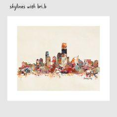 jersey city new jersey skyline .colorful modern pop by oxleystudio