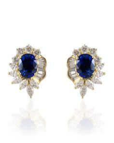 Oval Sapphire and Diamond Fancy Stud Earrings