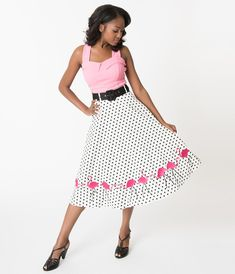 537705947ebb Collectif White & Black Polka Dot Fancy Flamingo Cotton Swing Skirt