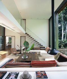 white walls, dark window trims, natural doors