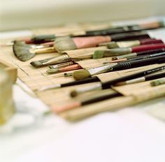 brushes in a bamboo roll