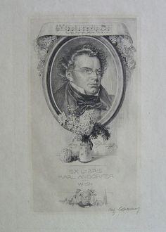 Portrait Franz Schubert mit Notenzeile 'Guten Morgen, schöne Müllerin!'