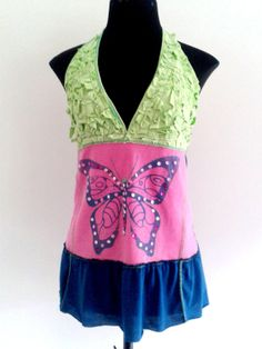 Upcycled Bohemian Halter Top  Deep V neckline. Available now by MixeDesigns, #recycle #upcycle #colorful