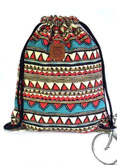 Artículos similares a Geometric print drawstring bag Canvas Backpack, 2 pocket inside, cotton fabric lining or waterproof fabric lining ) en Etsy Canvas Backpack, Backpack Bags, Drawstring Backpack, Tote Bag, Diy Bags Patterns, Drawing Bag, Handmade Bags, Purses And Handbags, Fashion Bags
