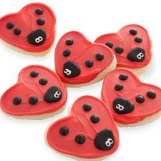 Ladybug cookies!!!! I could probably make these with a heart shpaed cookie cutter, sugar cookie dough, red frosting, plain M&M's, white frosting and black/brown frosting. You can purchase these already made from cheryls.com :)