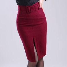 Осень весна мода формальные женщин высокой талией вина красный серый черный шерстяные юбка карандаш, Женский женщина зимние 5XL 4XL шерсть юбки