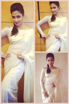 Blouse design. Amala Paul in a traditional Kerala saree/attire. #Fashion #Style #Beauty #Mollywood