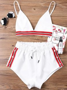 Kenancy Fashion Two Pieces Women Set Sexy Bra Crop Top with High Cut Tie Elastic Waist Shorts Suit Outfits Beachwear Women Sets Summer Outfits, Cute Outfits, Kids Fashion, Fashion Outfits, Trendy Fashion, Latest Fashion, Fashion Hub, Fashion Clothes, Fashion Online