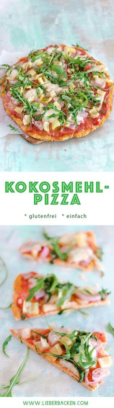 Kokosmehl-Pizza // glutenfrei Low Carb lecker essen # Food and Drink lunch low carb Pizzaboden aus Kokosmehl Pizza Sans Gluten, Gluten Free Pizza, Low Carb Pizza, Low Carb Lunch, Paleo Pizza, Menu Dieta Paleo, Paleo Diet, Law Carb, Healthy Low Carb Recipes