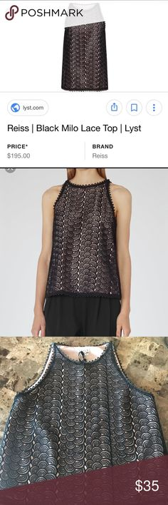 Reiss sleeveless lace top ! Black and blush inside . Delicate black lace and beautiful little bottoms in the shoulders .  Is a M (8-10) it was was a gift , not my style 🤷🏻♀️ Reiss Tops Blouses