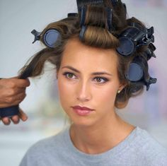 Pretty Simple How to Hot Roll Hot rollers Hair makeup and Makeup