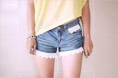 Lace denim shorts DIY