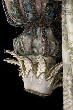 """Atelier de couture de l'Opéra Garnier Paris,  costume for """"Roxane"""",  in Edmond Rostand's Cyrano de Bergerac, painted silk taffeta, gold lamé and blue nylon trim appliqués, tulle and cotton lace"""