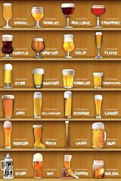 Escolher o copo ideal valoriza as características de cada estilo de cerveja. Conheça mais sobre a origem e características de cada tipo de copo de cerveja:… Brewing Recipes, Beer Recipes, Wine Cocktails, Alcoholic Drinks, Beer Infographic, Beer Burger, Beer Glassware, Beer Factory, Beer Pairing