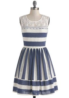 Waterfront Outing Dress - Blue, Stripes, Lace, Party, A-line, Scoop, Nautical, Vintage Inspired, Spring, Mid-length, White