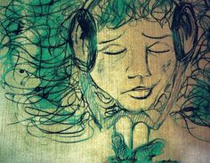 """Illustration inspired by the song """"Headphones"""" by Jars of Clay"""