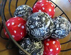 Wiffle ball, napkin decorative balls. Dollar store craft.