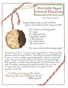 Chocolate Dipped Coconut Macaroons - Susan Branch always does everything so beautifully! Old Recipes, Vintage Recipes, Cookie Recipes, Dessert Recipes, Desserts, Party Recipes, Susan Branch Blog, Coconut Macaroons, Coconut Cookies