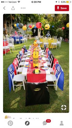 Superhero guest table from a Calling All Superheroes Birthday Party on Kara's Pa… - Party Ideas Avengers Birthday, Batman Birthday, Superhero Birthday Party, 6th Birthday Parties, Birthday Party Decorations, Birthday Table, Super Hero Birthday, 5th Birthday Ideas For Boys, Superhero Party Decorations