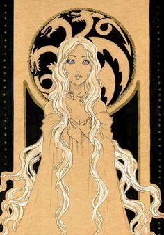 Game of Thrones - Daenerys Targaryen, Mother of Dragons by ooneithoo Daenerys Targaryen Art, Game Of Throne Daenerys, Khaleesi, Game Of Thrones Drawings, Got Game Of Thrones, Dragon Sketch, I Love Games, Mother Of Dragons, Princesas Disney