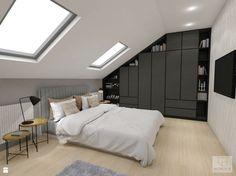 Attic Bedroom Storage, Attic Bedroom Designs, Attic Rooms, Bedroom Loft, Dream Bedroom, Home Bedroom, Master Bedroom, Modern Japanese Interior, One Storey House