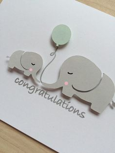Elephant Baby Shower Card Baby Shower Congratulations Card