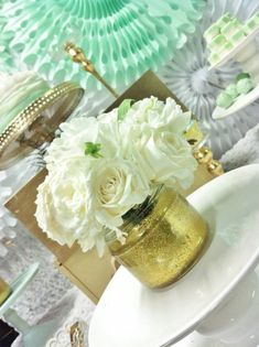 Mint and Gold Party Planning Ideas Supplies Cake Idea Decorations