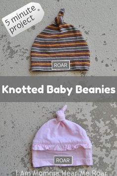Upcycle old tshirts into Knotted Baby Beanies