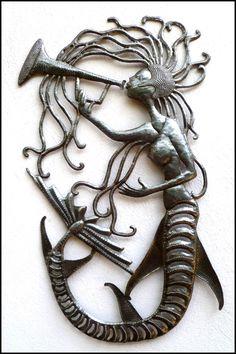 """Metal Wall Art, Mermaid Metal Wall Hanging - Handcrafted Haitian Recycled Steel Drum Metal Art - Mermaid Metal Wall Decor - 14"""" x 24"""" - 2014 by HaitiMetalArt on Etsy"""