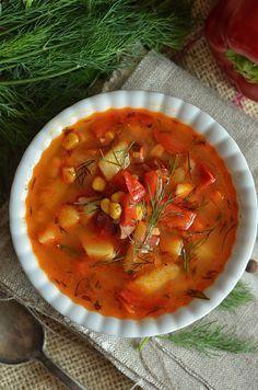 bardzo dobra zupa z pomidorów i papryki Best Soup Recipes, Keto Recipes, Dinner Recipes, Cooking Recipes, Favorite Recipes, Vegan Gains, Diy Food, Love Food, Food To Make