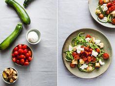 Spaghetti de courgette au pesto, tomates rôties, mozzarella et croûtons…