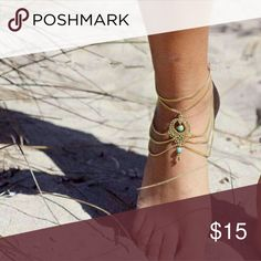 Womens Beach Barefoot Sandal Foot Turquoise Get ready for summer!!! Womens Beach Barefoot Sandal Foot Turquoise Jewelry Anklet Chain Tassel. Available in gold or silver. Jewelry