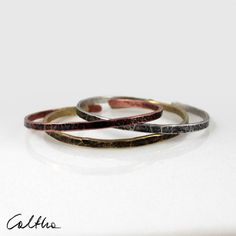 Set of 3 irregular silver copper and brass bracelets, stacking metal bracelets, simple bangles for woman, narrow open adjustable bracelet