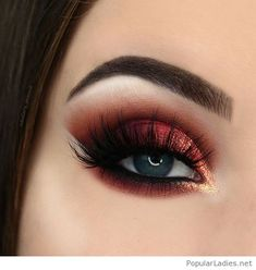 Amazing orange eye makeup with glitter